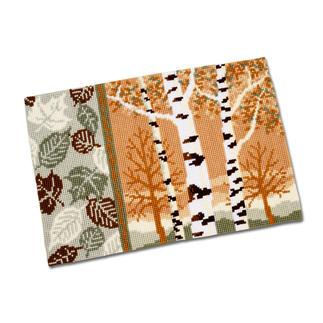 Stickteppich - Birken im Herbst, 75 x 50 cm