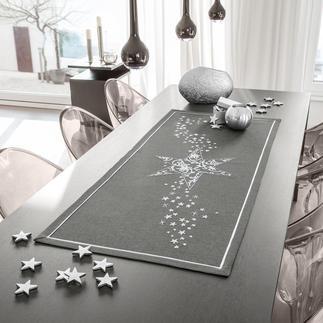 Tischband, -läufer oder -decke - Weihnachtsmotive Edle Stickereien auf farbiger Tischwäsche.