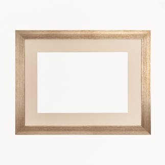 Bilderrahmen, blass-goldfarben mit Passepartout, Ausschnitt 26 x 38 cm Bilderrahmen, blass-goldfarben mit cremefarbenem Passepartout