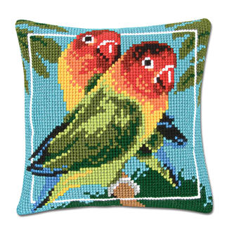 Kreuzstichkissen - Papageien