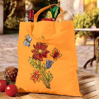 Baumwollbeutel - Blume mit Schmetterlingen