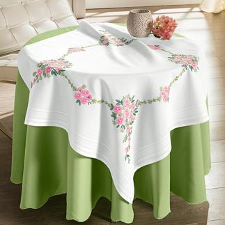 Tischwäsche mit eingewebtem Zierrand - Blumenbouquet
