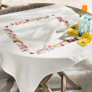 Aida-Tischdecken mit frischen Ostermotiven.