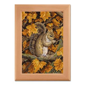 Herbstblätter, Kreuzstichbild Stickideen in warmen Herbstfarben