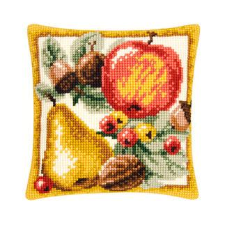 Kreuzstichkissen - Herbstfrüchte Stickideen in warmen Herbstfarben