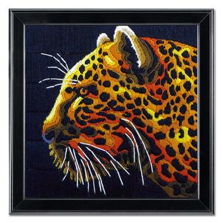 Longstichbild - Leopard Longstich – kinderleicht und schnell gestickt.