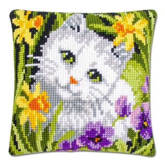 Kreuzstichkissen - Weiße Katze Tierisch gut – Alles rund um die Katze.