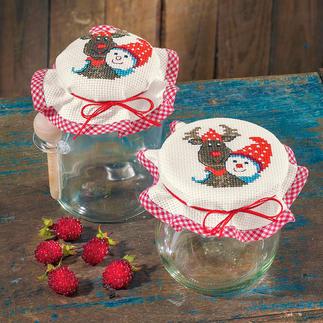 2 Marmeladenglasdeckchen im Set - Elch & Schneemann Kleine Stickprojekte – Ideal auch für Einsteiger