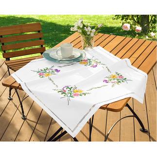 Hohlsaum-Tischdecke - Frühlingsblumen