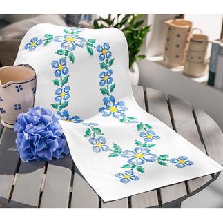 Baumwoll-Tischläufer - Blaue Blumen Kreuzstich-Stickideen – besonders für Anfänger geeignet.