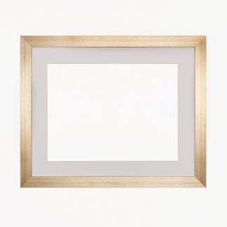 Bilderrahmen, blass-goldfarben mit Passepartout, Ausschnitt 33 x 44 cm Bilderrahmen, blass-goldfarben mit weißem Passepartout