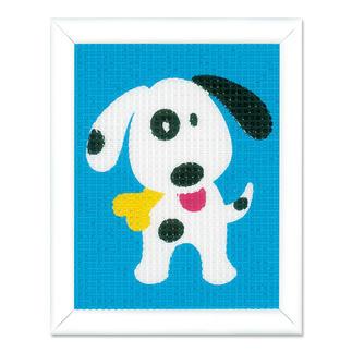 Stickbild - Lustiger Hund Stickspaß für Kinder