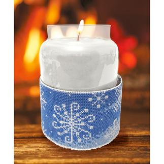 Kerzen-Corsage - Schneeflocken Stickideen für die kalte Winterzeit