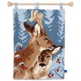 Kreuzstich-Wandbehang - Rehe Winterliche Stickideen