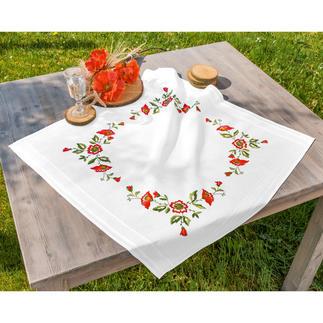 Tischwäsche mit eingewebtem Zierrand - Mohnblumen