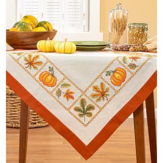 Halbleinen-Tischdecke - Pumpkins Stickideen in warmen Herbstfarben