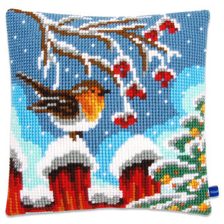 Kreuzstichkissen - Rotkehlchen am Zaun Winterliche Stickideen