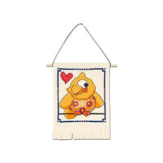 Wandbehang - Gelbe Eule My first Kit – Sticken für die ganz kleinen Einsteiger.