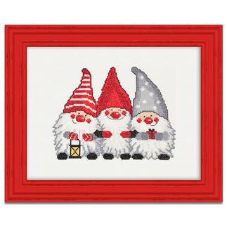 Kreuzstichbild - Wichtel-Trio Skandinavische Weihnachtswichtel