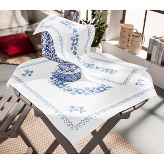 Baumwoll-Tischwäsche - Klassisch-Blau Stickereien in Blau-Weiß – luftig frisch und dennoch zeitlos klassisch.