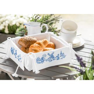 Brotkörbchen - Holländische Mühlen Stickereien in Blau-Weiß – luftig frisch und dennoch zeitlos klassisch.