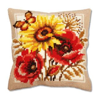 Kreuzstichkissen - Sonnenblume mit Mohnblumen