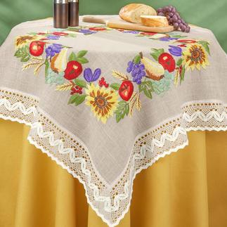 Tischdecke, Tischläufer und Kissen - Sonnenblumen & Früchte