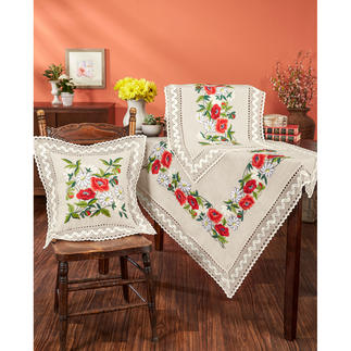 Tischdecke, Tischläufer und Kissen - Mohnblumen