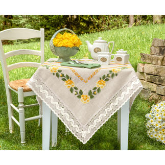 Tischdecke, Tischläufer und Kissen - Gelbe Rosen