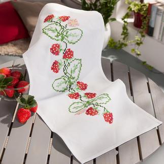 Baumwoll-Tischläufer- Erdbeeren