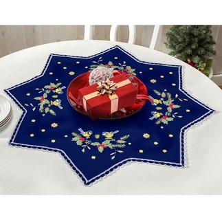 Tischdecken mit Spitze - Stern, Blau Zeitlose Weihnachts-Klassiker