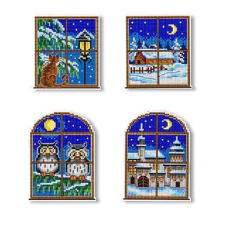 4er-Set Fensterbilder Weiße Weihnachten