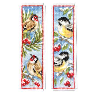 2 Lesezeichen im Set - Vögel im Winter Stick-Ideen zur Winterzeit.