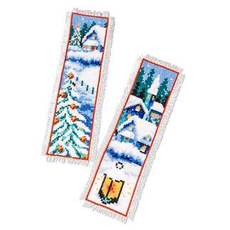 2er-Set Lesezeichen - Winterdorf Weiße Weihnachten