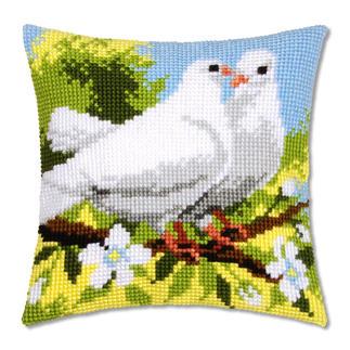 Kreuzstichkissen - Weiße Tauben Der beliebte Klassiker