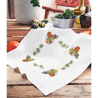 Tischdecke mit eingewebtem Zierrand - Kürbis-Bouquet