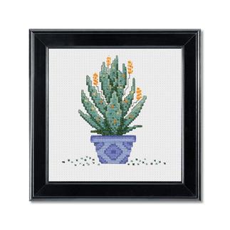 Mini-Stickbild - Kaktus im blauen Topf Urban Jungle – Dschungelfeeling für Ihr Zuhause
