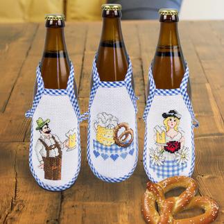 3er-Set Bierflaschen-Schürzen Ideal zum Verschenken oder einfach zum selbst Behalten.