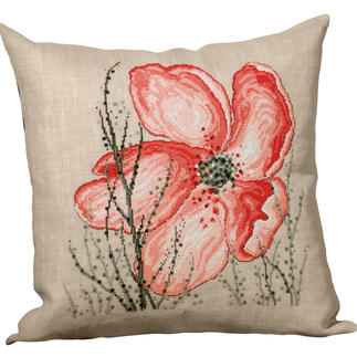 Florales Naturleinen-Kissen - Mohnblume Romantisch-florale Stickideen.