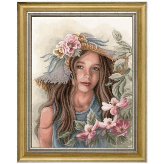 Lanarte-Stickbild - Mädchen mit Hut
