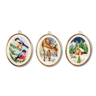 Winteridyll - 3 Miniaturen im Set Stick-Ideen zur Winterzeit