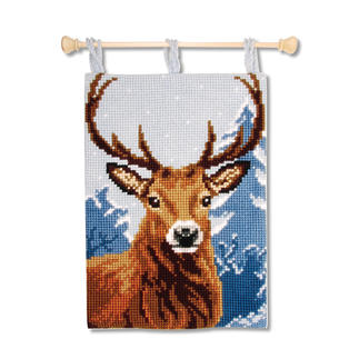 Kreuzstich-Wandbehang - Hirsch Stick-Ideen zur Winterzeit