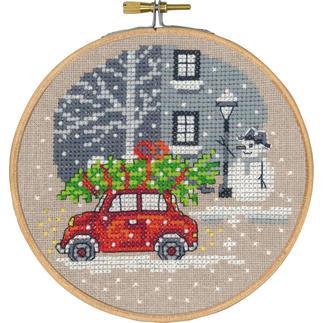 Kreuzstichbild, Roter Fiat - inkl. Stickring Easy Stitching – besonders einfache und schnelle Stick-Ideen.