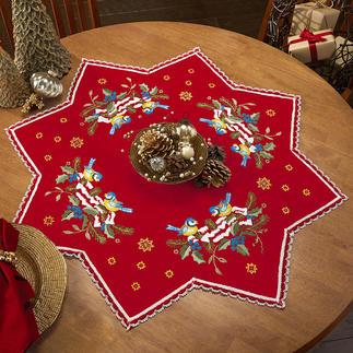 Stern-Tischdecke mit Spitze, Rot Zeitlose Weihnachts-Klassiker