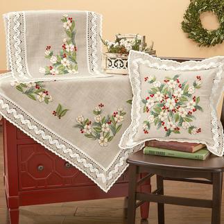Tischwäsche mit Makramee-Spitze - Christrosen Tischdecken, Tischläufer und Kissen