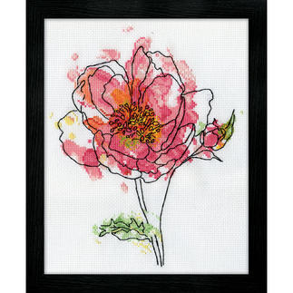 Kreuzstichbild - Pink Floral / Rose