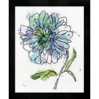 Kreuzstichbild - Blue Floral/Kornblume