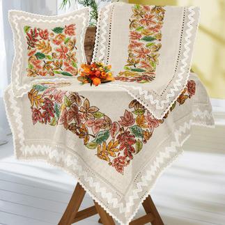 Tischwäsche oder Kissen mit Makramee-Spitze - Herbstblätter-Bordüre Tischdecken, Tischläufer und Kissen in geflammter Leinenoptik mit breiter Makramee-Spitze.
