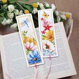 2 Lesezeichen im Set - Blumen
