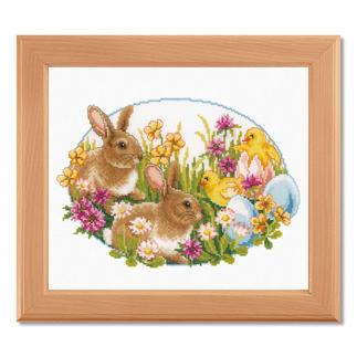 Stickbild - Kaninchen & Küken